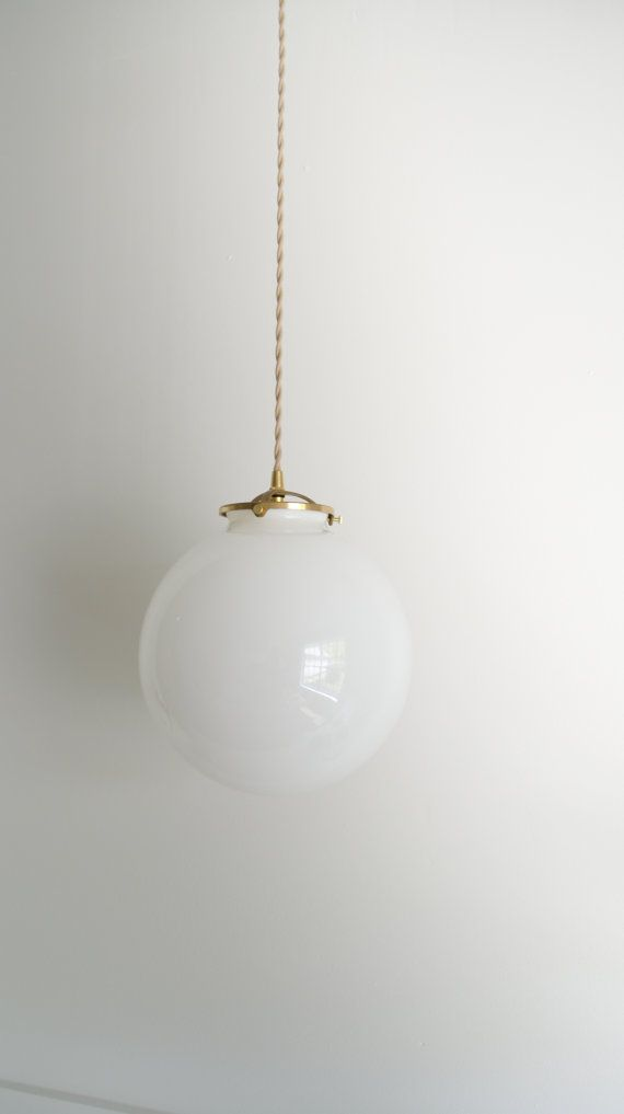 Globe Pendant light Solid brass hanging glass by TripleSevenHome