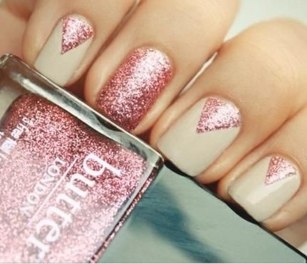 Glam Glitter Nails: Champagne Toast. Boozy brunch with friends on tap? Wow them with this look. Opt for a champagne color to contrast a sparkling pink, and rely on stick-on nail strips to create geometric shapes with utmost accuracy. #SelfMagazine