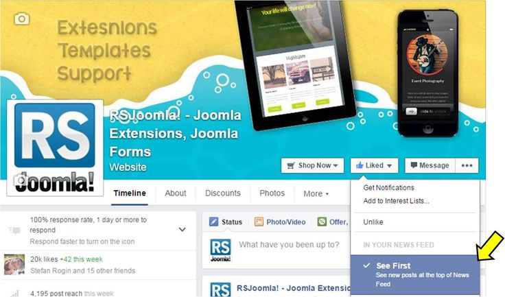 """Do you like our Facebook posts? Make sure they'll show up in your news feed by visiting us https://www.facebook.com/rsjoomla, clicking """"Liked"""" and selecting """"See First""""!"""