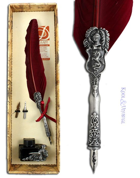 Unusual Pens | ... Burgundy RED Italian Feather Quill PEN AND INK SET With Dragon | eBay