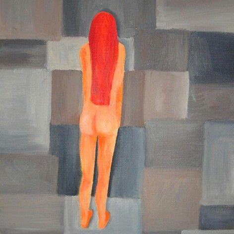 'Ściana' 'The Wall' Obraz na kartonie, olej. #woman #akt #redhead