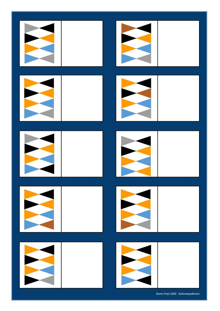 Board for the matching game Find the belonging tiles on Autismespektrum on Pinterest. By Autismespektrum