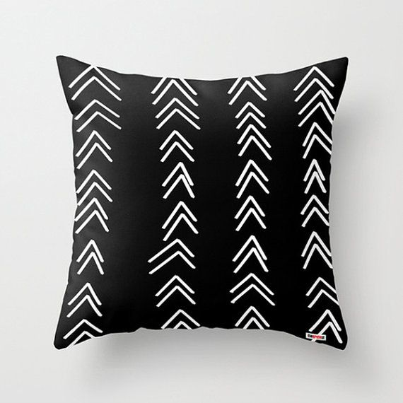 Decorative throw pillow cover  Black and white by thegretest