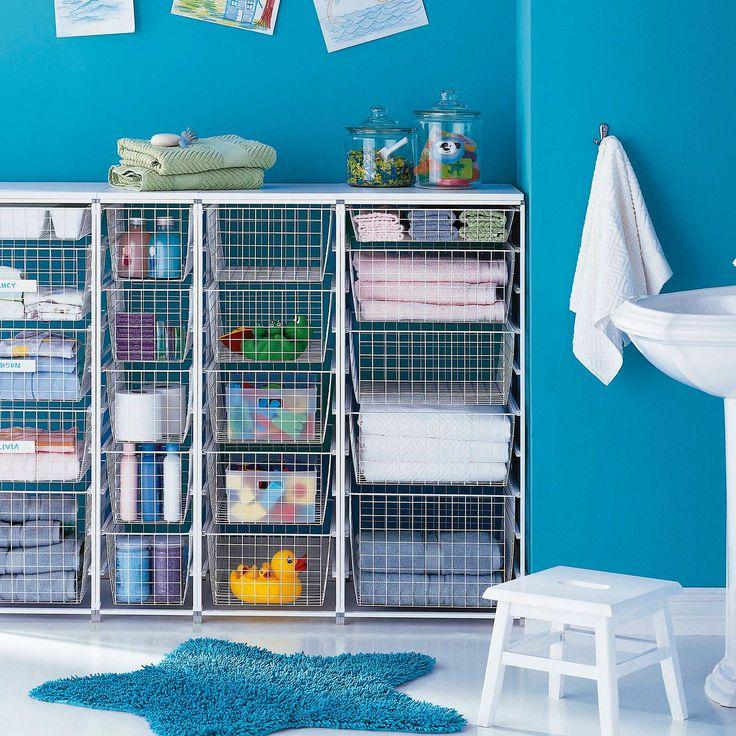 Korijärjestelmä pistää pesuaineet, lelut tai tekstiilit kuriin. - Basket system gets detergents, toys or textiles organised.