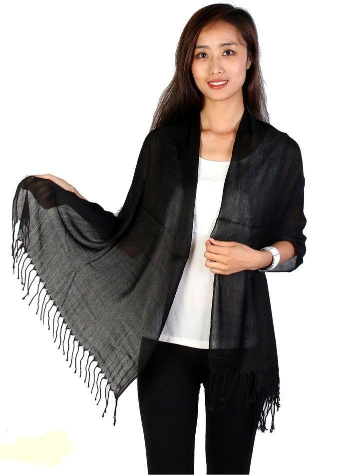 "Black Pashmina Silk Blend Fashion Scarf Wrap 72"" X 40"" NEW NWT #NorthSouthFashions #Pashmina"