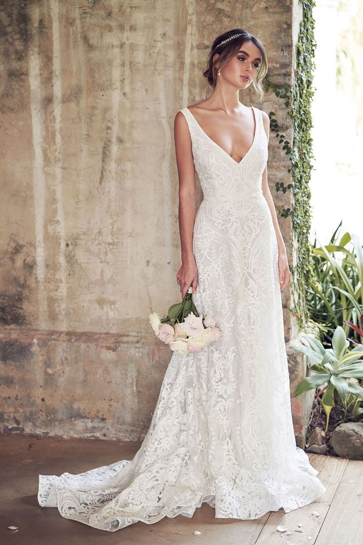 A-line Spaghetti Straps Lace Wedding ceremony Gown,Sleeveless Ground Size Bridal Gown …