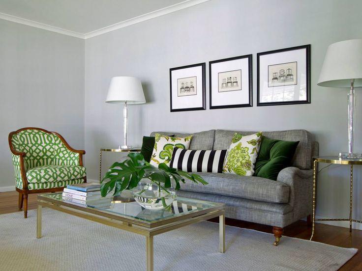 интерьер гостиной в серо-зеленом цвете