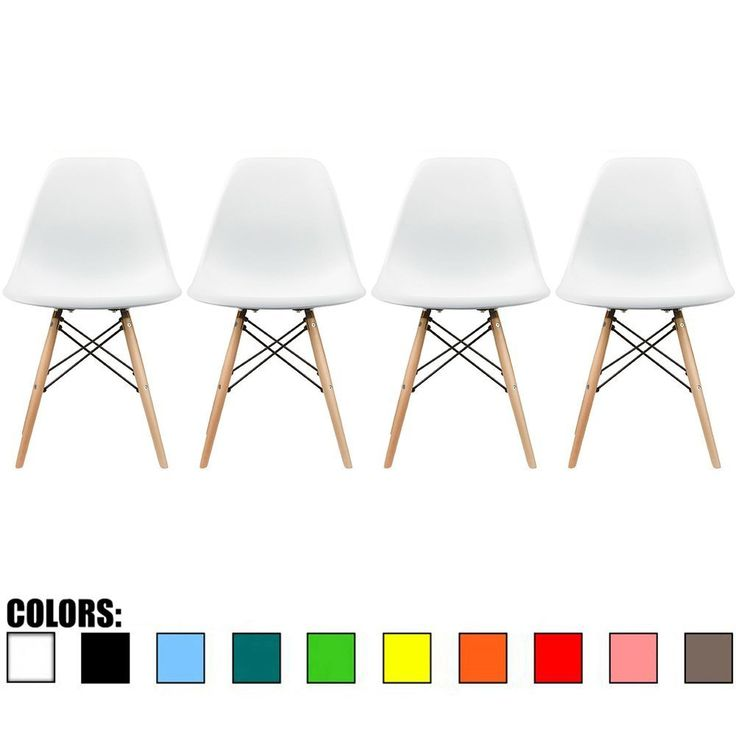 Amazon.com - 2xhome - Set of Four (4) White - Eames Style Side Chair Natural Wood Legs Eiffel Dining Room Chair - Lounge Chair No Arm Arms Armless Less Chairs Seats Wooden Wood Leg Wire Leg Dowel Leg Legged Base Chrome Metal Eiffel Molded Plastic - Chairs