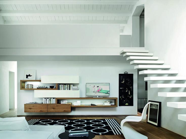 Exklusive Design Wohnwand Aus Italien Mit Schwebenden TV Board Und Hngeschrnke Ist Die Livitalia C25