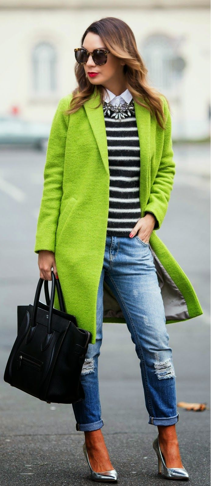 Causal Lime Green Coat + Comfy Stripes & Ripped