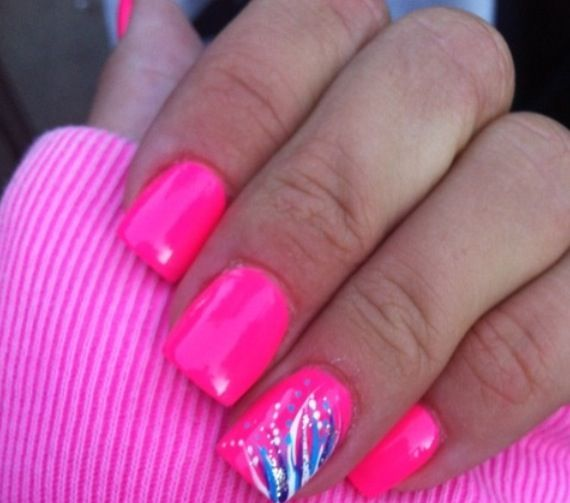 Hot nail designs pictures : Hot pink gel nail design girly