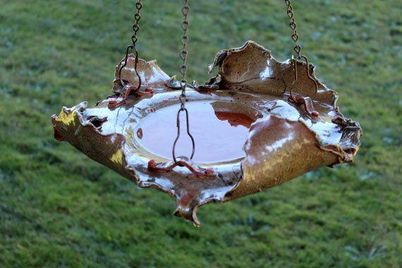 Abstract Stoneware Pottery Hanging Birdbath by SueDicksonGallery, $145.00