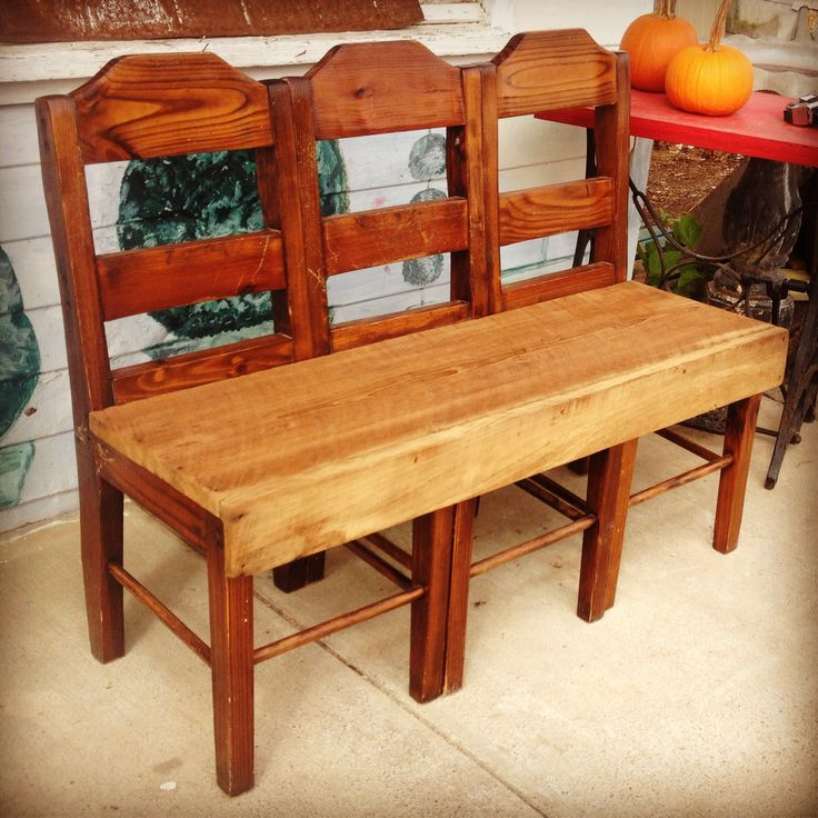 Repurposed chairs and old barn wood made into a fabulous bench! These are available at Creative Aspects!