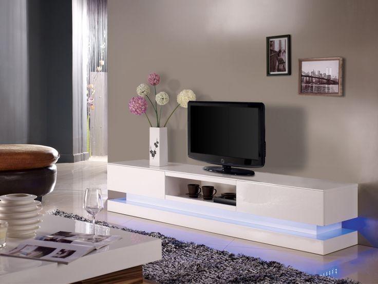 Meuble TV FIRMAMENT  MDF laqué blanc  LEDs  2 tiroirs & 1 niche  Son  -> Meuble Tv Led Mdf Blanc Enceinte