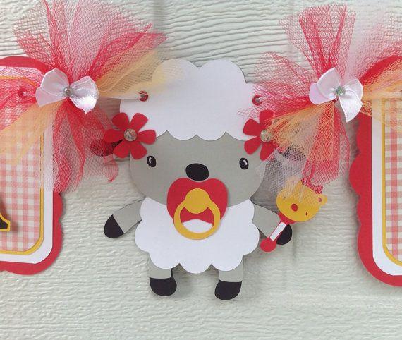 Bannière de douche de bébé, Vichy rouge, jaune et blanc, l'agneau c'est une bannière de fille.