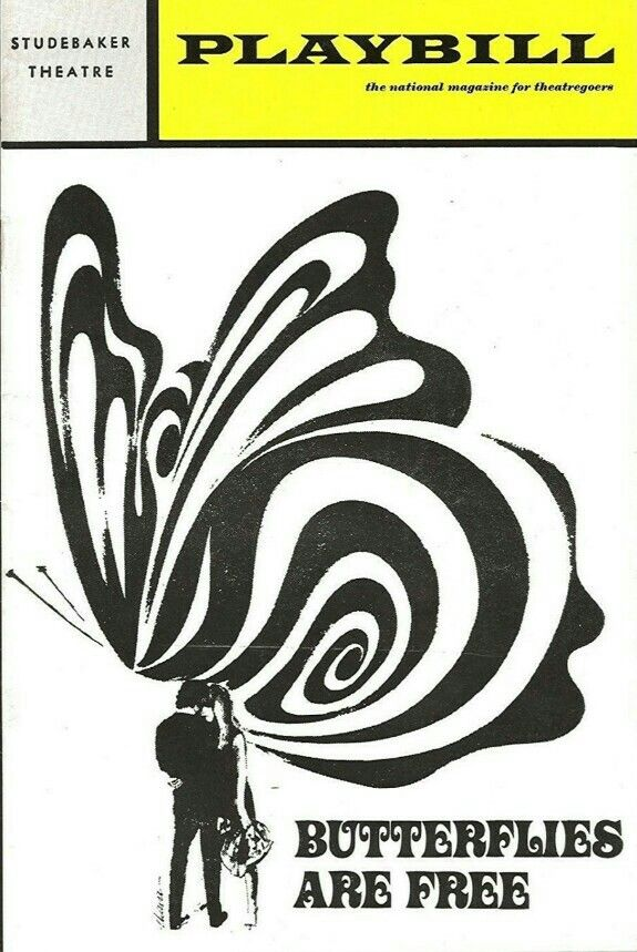 """Premiere Chicago Production of Leonard Gershe's comedy """"Butterflies are Free,"""" which performed from July 22 thru October 24, 1970 at the Studebaker Theatre. Wendell Burton and Eve Arden starred in the production. Gloria Swanson joined the cast of the Chicago Production for the final two weeks, replacing Eve Arden."""