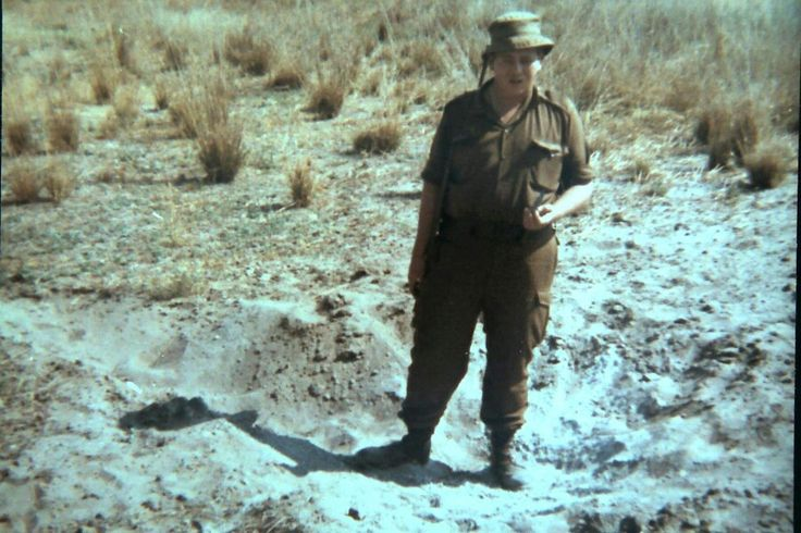 Crater of 122mm Red Eye. 23 Aug 1978. Katima Mulilo