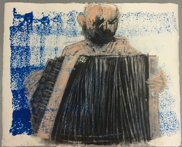 Boy crying and playing music. Version 2. Mixed media on Griffin Mill paper. 2015.