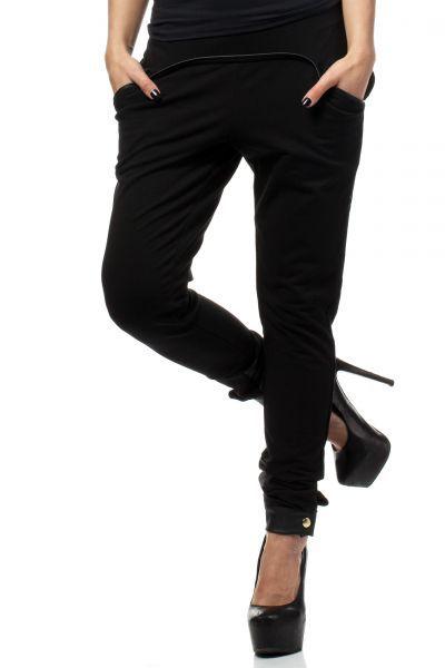 Czarne spodnie dresowe z lamówką