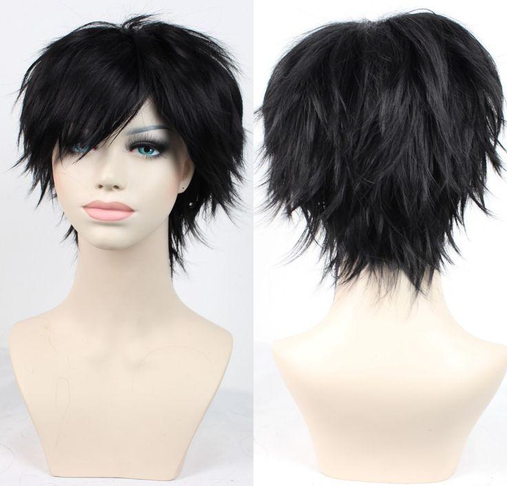 9 colori nero/rosso/l'uomo e le donne anime cosplay parrucca di capelli biondi, di qualità a buon mercato corti capelli del partito parrucca peruca, capelli pieni parrucca quotidiano