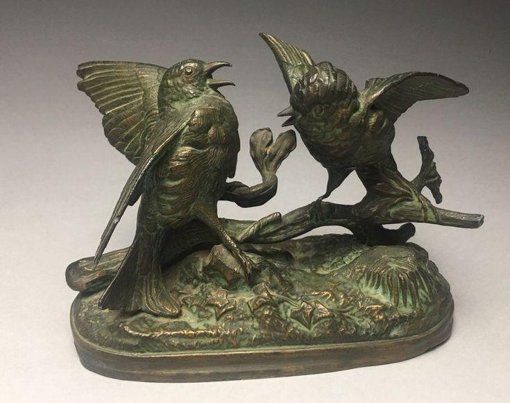 Antique Signed Chanhomme Spelter Animalier Sparring Birds Sculpture    eBay