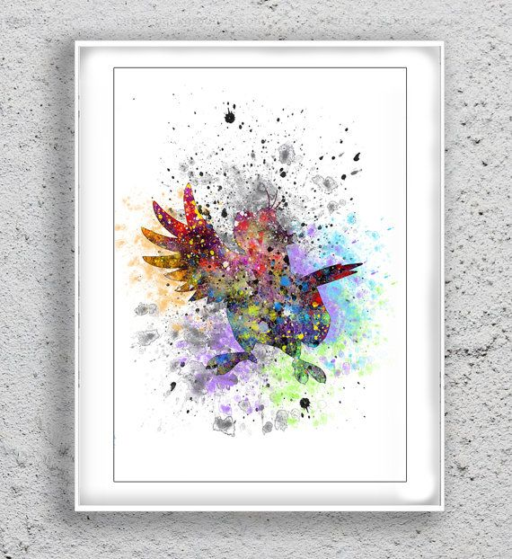 Iago Parrot from Aladdin Art Print  Watercolor by MulticolourArt