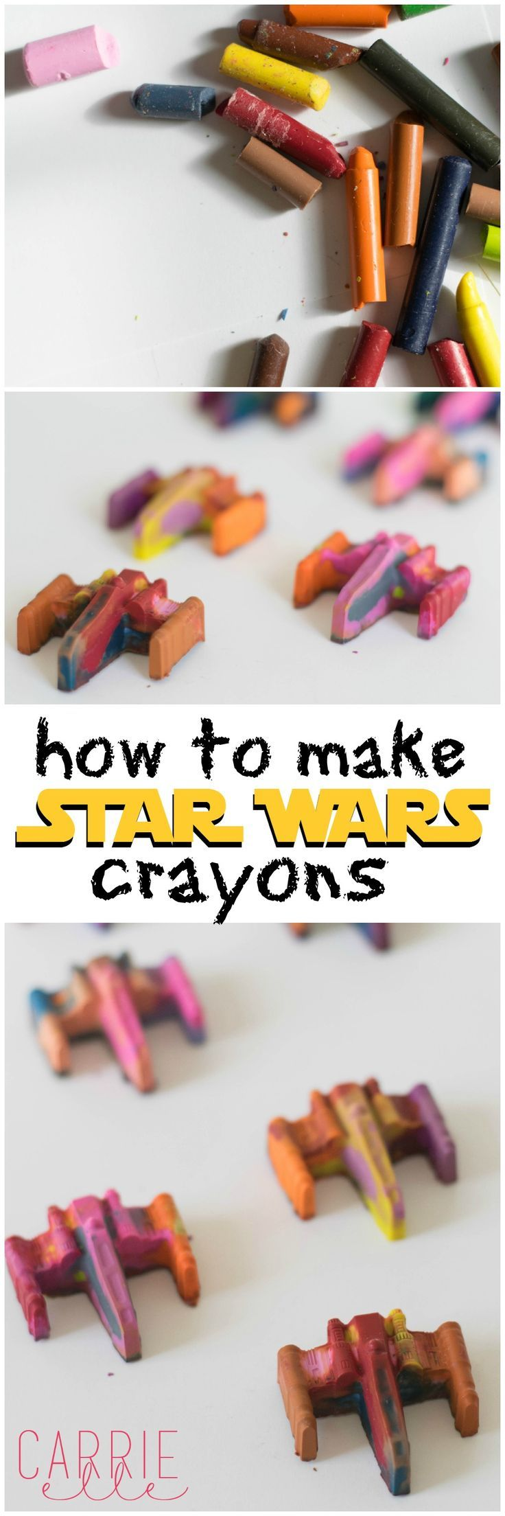 These Star Wars crayons are so  fun! They are the perfect Star Wars party favor for a Star Wars party, but they're also just a fun activity to make with the kids.