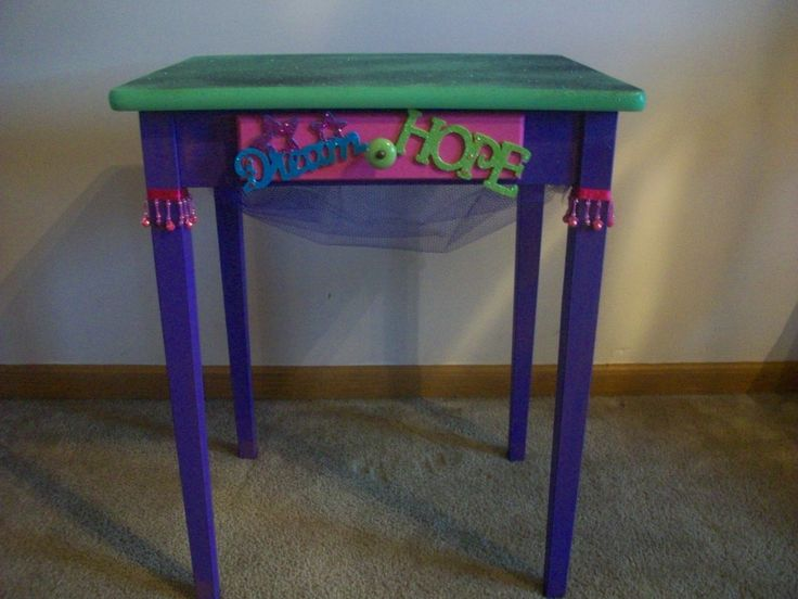 Plain stand repainted for girl's bedroom..by Angelena Patterson