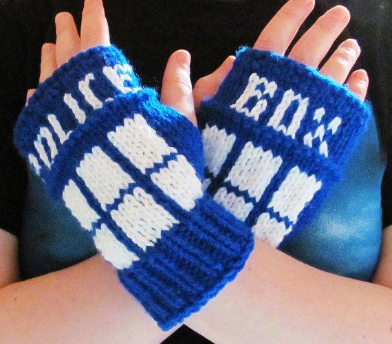 Dr. Who Tardis fingerless gloves. Link to Etsy site no longer functions. However, this site does have a FREE pattern for these: https://knittventures.wordpress.com/2011/01/18/tardiswristwarmers/