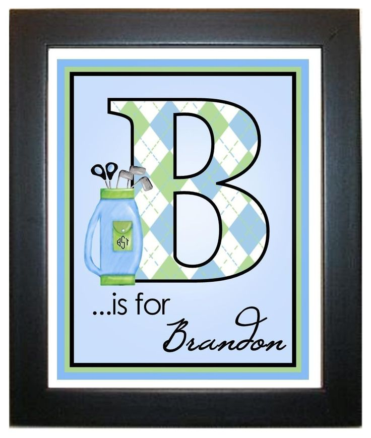 Golf  Wall Prints,, Golf Clubs, Golfing, Sports,  8 x 10, Wall Art, Illustration, Monogram, Children, Bedroom, Playroom, Artwork. $12.95, via Etsy.