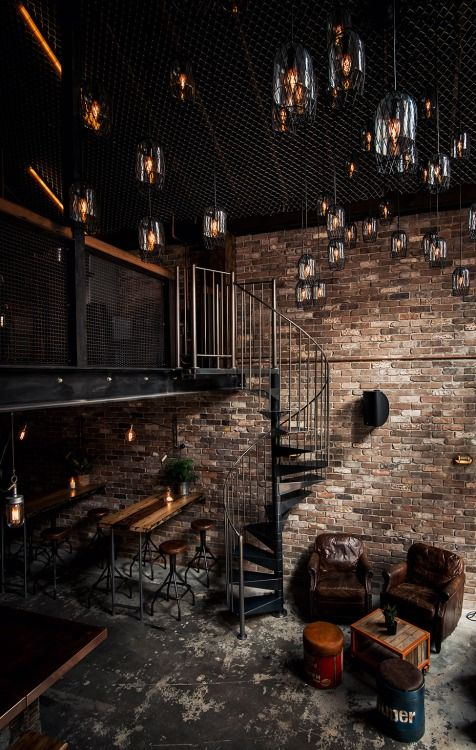 Industrial Style Interior - natural exposed brick walls, glass-jar lighting and use of plenty of steel.. Industrial is one of my favourite styles!