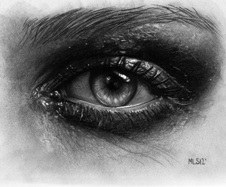 Dibujos hiperrealistas a lápiz de ojos conmovedores.