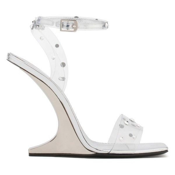 Giuseppe Zanotti Picard Shining (£895) ❤ liked on Polyvore featuring shoes, sandals, high heels, white, high heel sandals, silver high heel shoes, white sandals, white high heel shoes and silver shoes
