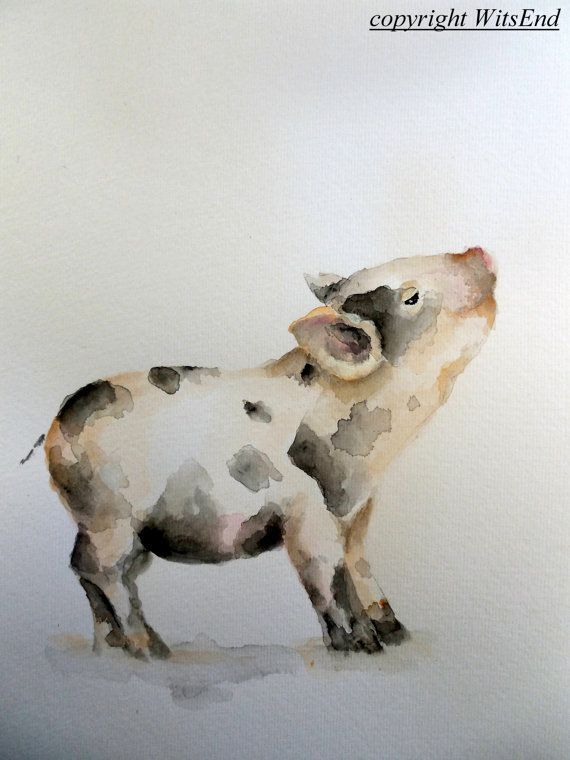 "'THE FARM NURSERY - Little Piglet"" (3rd of series).Baby Pig painting original watercolor nursery Farm by #4WitsEnd, via Etsy♥•♥•♥"