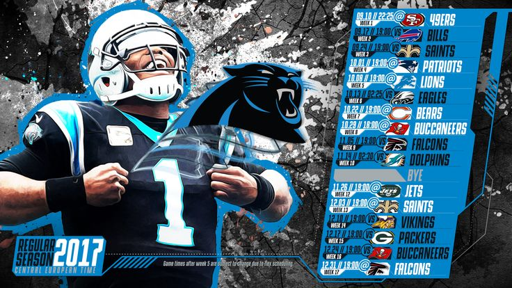 Schedule wallpaper for the Carolina Panthers Regular Season, 2017 Central European Time. Made by #tgersdiy