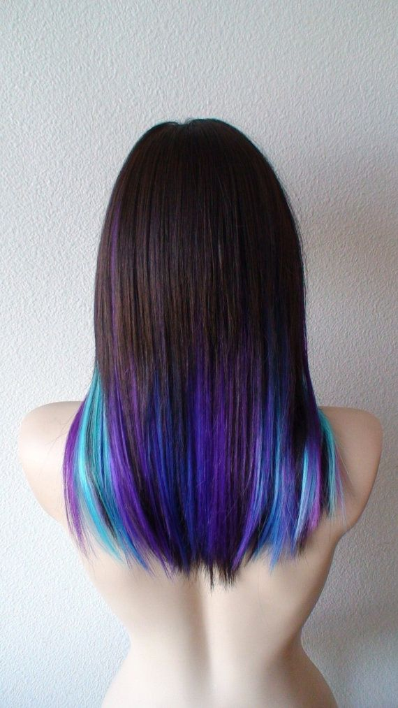 Color: Black hair with Pink Blue Purple * ** Can be any color combination by your request  Style: Long straight hairstyle Part: Circle center part