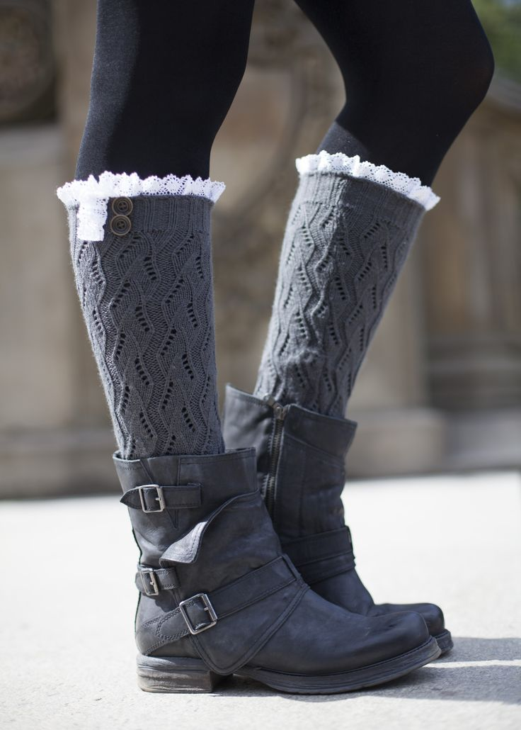 dark gray boot socks with lace and buttons #gertiebaxter