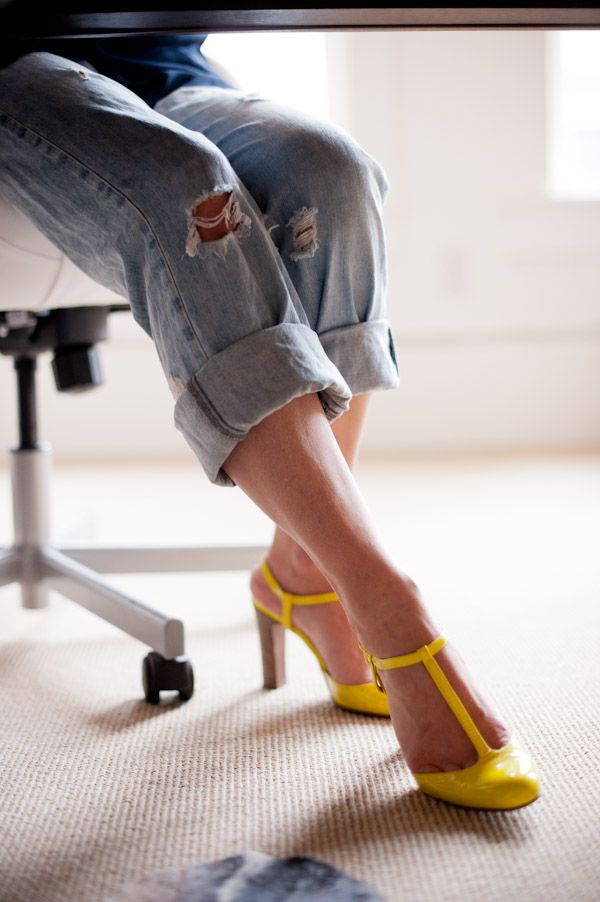 yellow t-strap - where WERE these when i had to buy yellow heels for a bridesmaid's get-up?!
