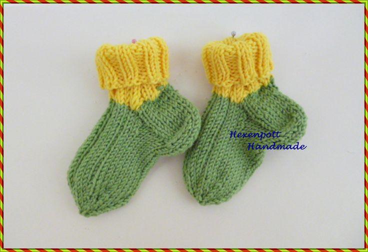 Socken - Kindersocken handgestrickt  Merino Gr. 19-20 - ein Designerstück von Hexenpott bei DaWanda