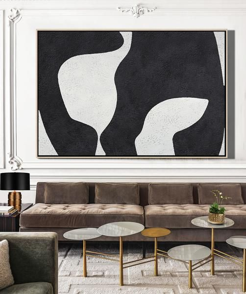 CZ Art Design. Horizontal Minimal Art, minimalist painting on canvas, black and white large canvas art #MN24C. for contemporary homes.