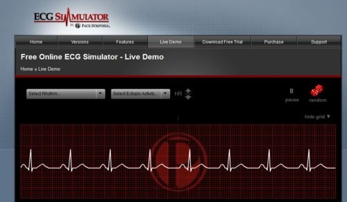 This is an ECG Simulator for learning and reviewing cardiac rhythm recognition. It shows you how each rhythm looks on the ECG strip. Very helpful! Just click on Live Demo and select the rhythm.