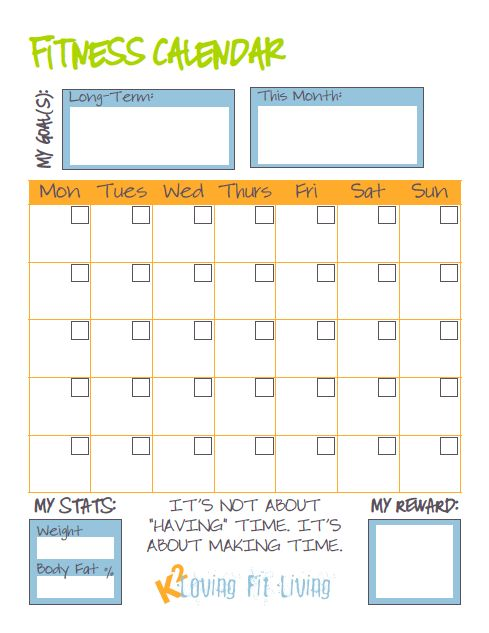 Blank fitness calendar - perfect for planning your ...