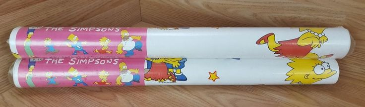 RARE Vintage The Simpsons Wallpaper 1991 Awesome Bedroom Games Room Decoration #Rare #Interior #Wallpaper #RareWallpaper #Vintage #TheSimpsons #Bedroom #Ebay #Ninties