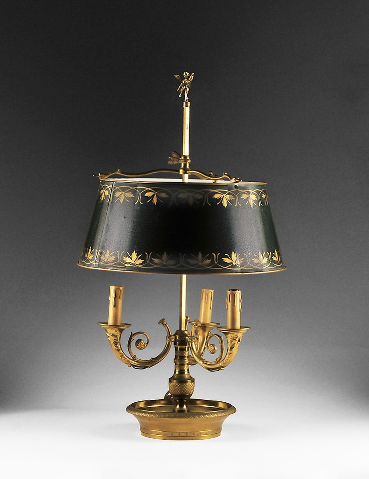 French bouillotte lamp with tole shade bouillotte for Baldwin brass floor lamp shades