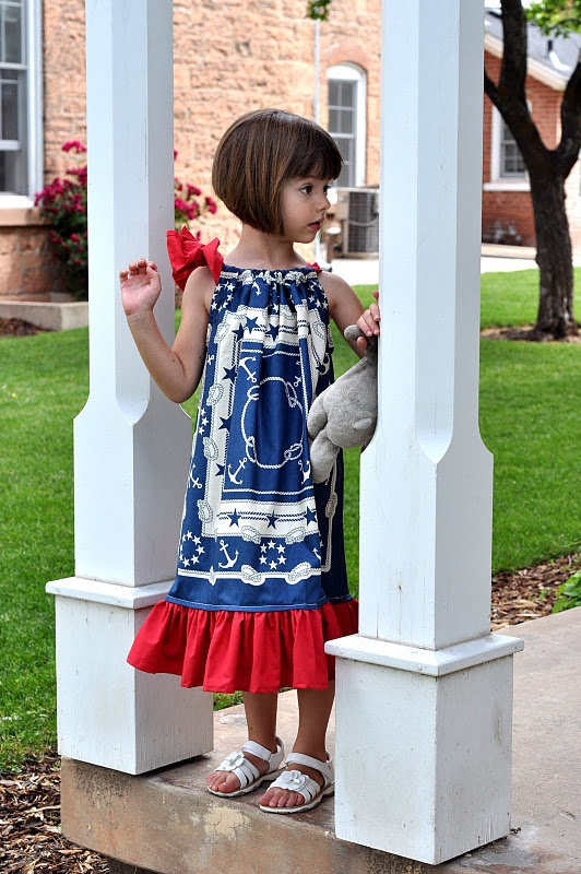 Patriotic pillowcase dresses - and adorable hair on this little girl!