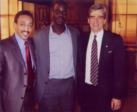 (l to r) Gregory Hines, Ato Essandoh, and Sam Waterson during the taping of the