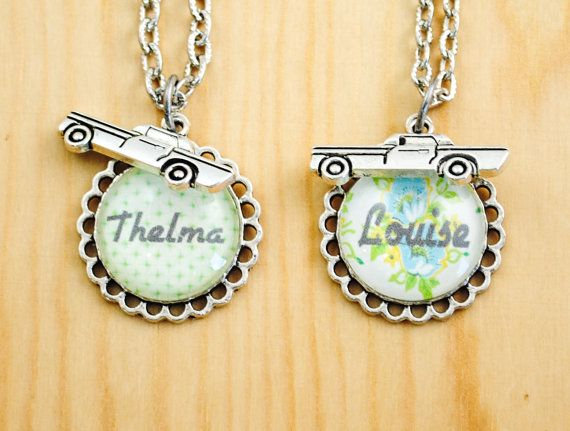 Thelma and Louise Friendship Necklace Set - Road Trip Necklace - Friendship Necklace Set-Etsy $36.00