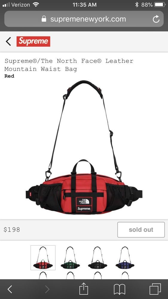 8c41f45a6eb eBay #Sponsored Supreme THE NORTH FACE Leather Waist Bag RED ...