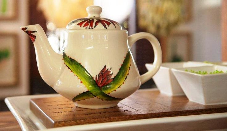 Aloe Tea Pot - perfect for some warm Cinnamon and Ginger organic tea from our Tea Collection.  #teapot #tea #ceramic #designer