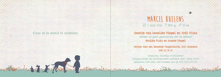 Geboortekaartje Marcel - binnenkant - Pimpelpluis - https://www.facebook.com/pages/Pimpelpluis/188675421305550?ref=hl (# jongen - hond - konijn - poes - kat - gras - silhouet - origineel)